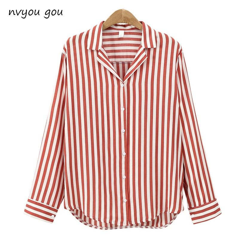 2019  New Spring Autumn Women Blouse Flower V-Neck Long Sleeve Work Shirts Women office Tops Striped blouse for business