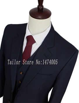 梳毛ウールダークブルーカスタムメイド男性スーツ新郎タキシードテーラーメイドスリムフィットウェディングスーツスーツ用男性3ピース