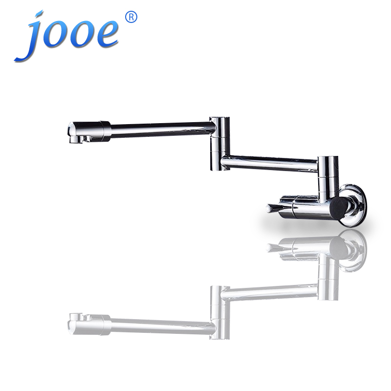 jooe Finish Folding Kitchen Sink Faucet Wall Mount Single Handle Chrome water faucet brass kitchen faucet flexible kitchen tap