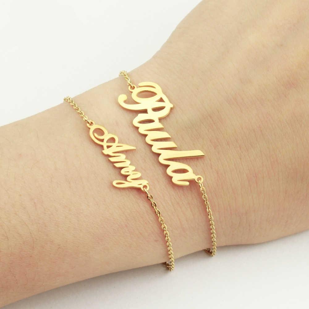 Personalized English Font Bracelet Customized Name Bracelet Custom Letter Bracelet Custom Initial Bracelet Christmas Gift -Xmas Gift