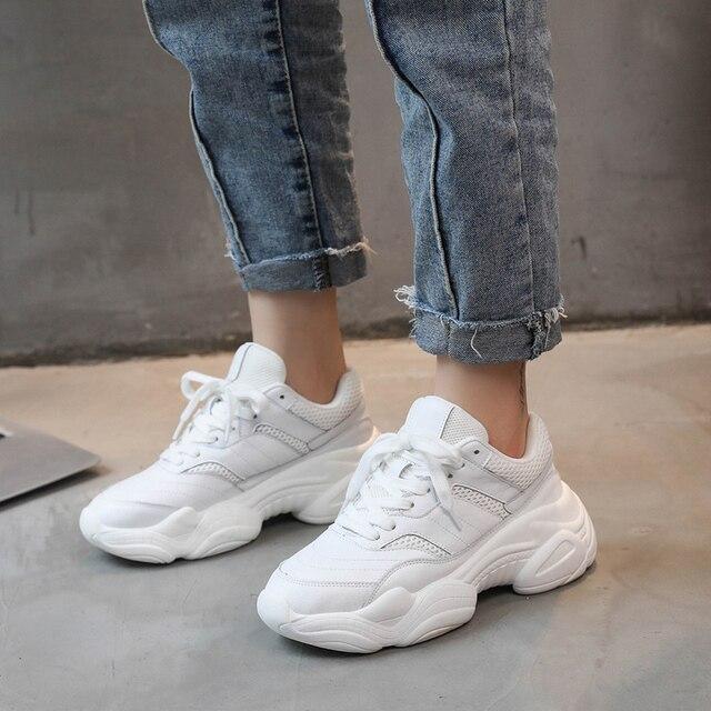 Kadın Bahar sonbahar Rahat Nefes PU + Mesh Flats Kadın Platformu Sneakers Kadınlar Chaussure rahat ayakkabılar Damla Dükkanı