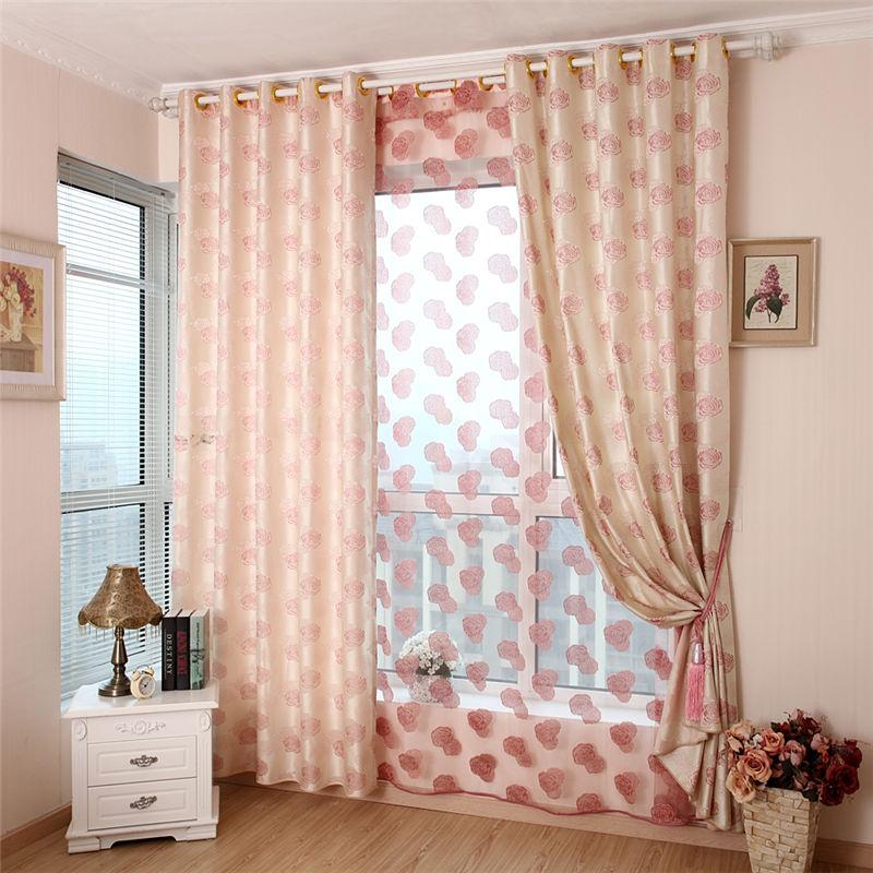 Buy Luxury Curtains For Living Room Bedroom Rose Flower Pink