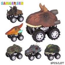 6PCS Mini Dinosaur Pull Back Car Toys Big Tire Wheel Truck Creative Funny Christmas Gifts for Boys Kids Dino Model Toy Cars(China)