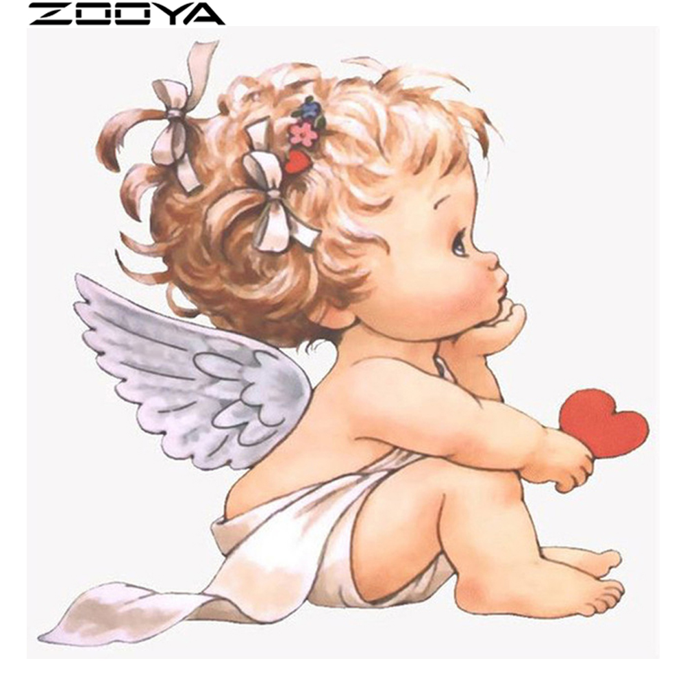 ZOOYA Diamond Embroidery 5d DIY Needlework Full Drill Diamond Painting Little Angel Holding Hands In Love Mosaic Pattern R829
