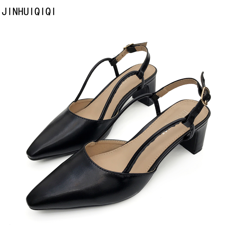 Women High Heels Pointed Toe Party Shoes Comfortable Thick Heel