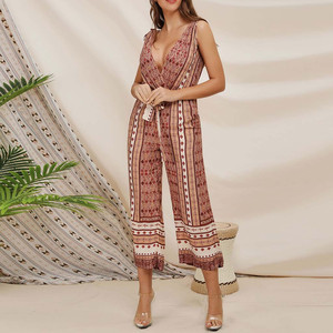 Women Jumpsuit Printing Off Shoulder Sleeve Rompers Jumpsuit Playsuit strapless Solid Loose Party beach Jumpsuit Summer Overalls
