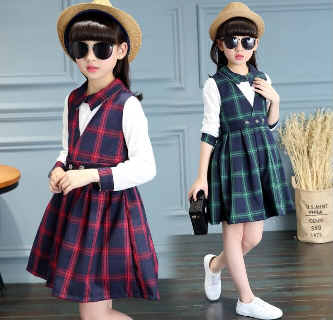 Children Plaid Dress Girls Turn-down Collar Shirt 2PCS Dress Sets Students Kids Plaid Bow Casual Two Piece Sets Clothes tinysaurus