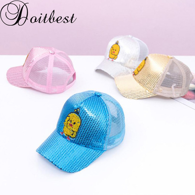 498e9fa198f Doitbest Children Baseball Cap Breathable little Duck sequins kids Sun Hat  summer mesh Baby Girls Hip. Mouse over to zoom in