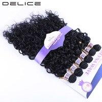 DELICE 6pcs Pack Water Wave Black 1B Hair Weaving Synthetic Hair Weave Extensions Weft Bundles 16