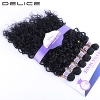 DELICE 6pcs Pack Water Wave Black 1B Hair Weaving Synthetic Hair Weave Extensions Weft Bundles 16