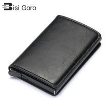 BISI GORO RFID Blocking Card Wallet  Fashion Men Women Credit Holder Carbon Aluminum Slim Short ID