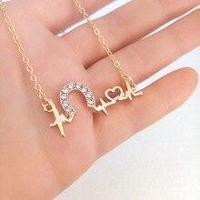 лучшая цена hzew electrocardiograph ECG and crystal Horseshoe pendant necklace