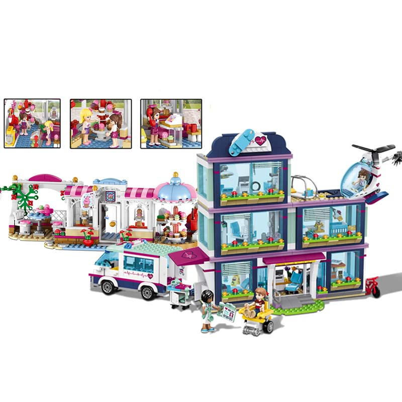 Heartlake City Park Love Hospital Cupcake Cafe Girl Friends Lele Building Block Compatible with Legoings