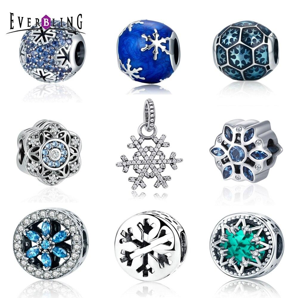 Christmas Gift Let It Snow! Snowflake 100% 925 Sterling Silver Charm Beads Fit Original pandora European Charms Bracelet