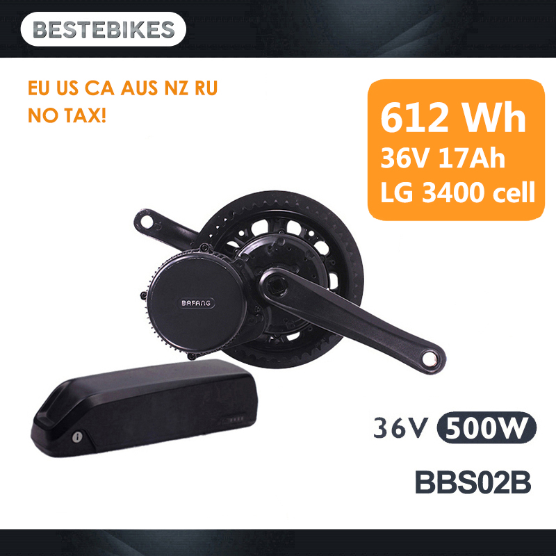 Moteur bafang BBS02B 36 V 500 w elektrikli bisiklet batterie velo moteur electrique velo 612 WH/36v17ah LG3400 cellulaire L'UE NOUS AUCUN IMPÔT