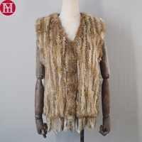 Women Spring Autumn Real Knitted Rabbit Fur Vest Fashion Knit Real Rabbit Fur Gilet Wholesale and Tetail Tassel Sleeveless Coat