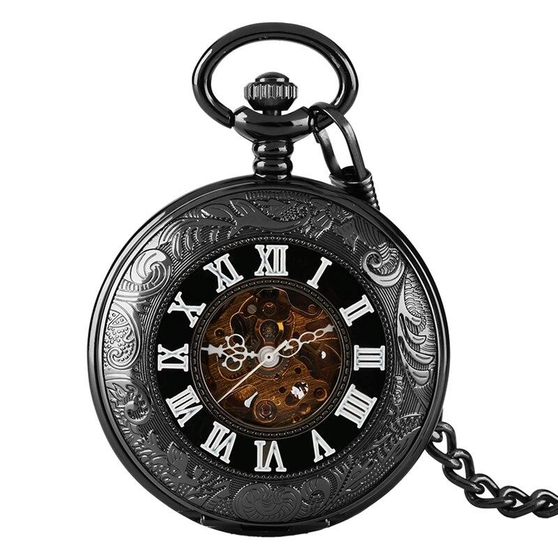 Hollow Transparent Glass Relojes De Bolsillo Mechanical Watches Men Cover Steampunk Relogio Feminino Pocket Watch Automatic