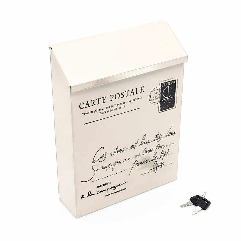 Деревенский кованый запирающийся почтовый ящик, коробки для газет, модный почтовый ящик, винтажные жестяные почтовые ящики, ведро для дома, DIY, реквизит для фотосъемки