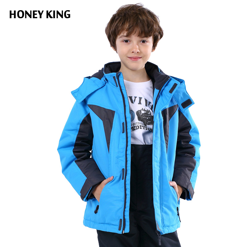 HONEYKING Thick Boys Ski Jacket Kid Parkas Jacket Windproof Waterproof Hooded Warm Boys Outerwear Coat-20 Degree Winter Clothing girl duck down jacket winter children coat hooded parkas thick warm windproof clothes kids clothing long model outerwear