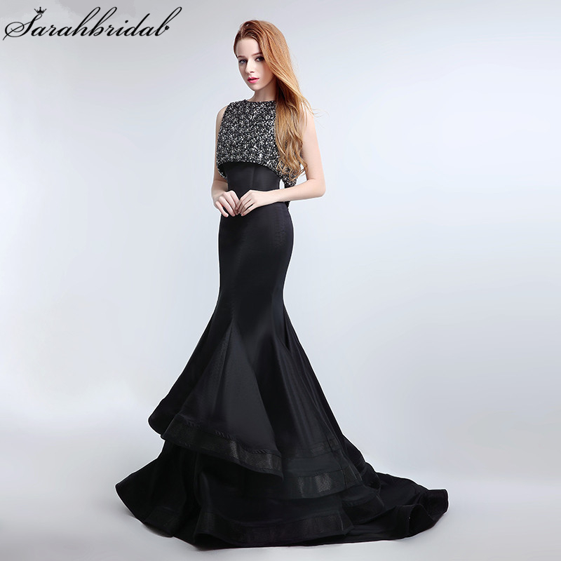 New Arrival Sexy Mermaid Formal   Evening     Dresses   Luxury Crystal Beading Tiered Ruffles Party Gown Vestido De Festa LSX168