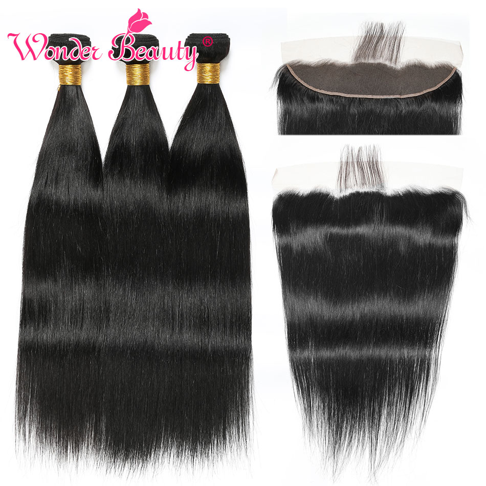 Straight Hair Bundles With Closure Frontal Brazilian Hair Weave Bundles With Frontal Wonder Beauty remy Human