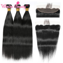 Straight Hair Bundles With Closure Frontal Brazilian Weave Wonder Beauty remy Human Extension