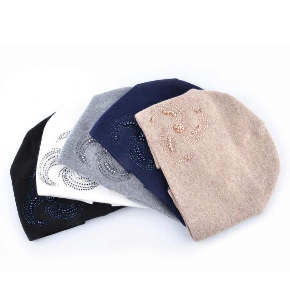 ... Winter Knitted Beanie Hats For Women Pearls Rhinestone Flower Knitting  Wool Bonnet Caps Ladies Soft Warm 2fb9903b82b8