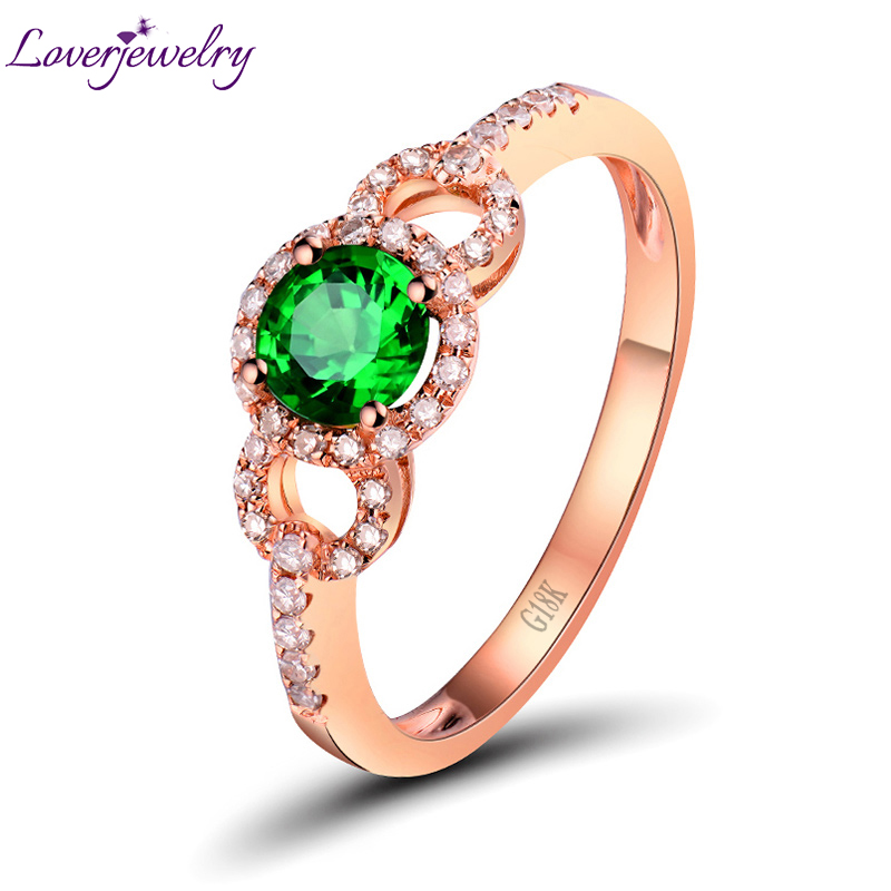 Green Tsavorite Ring With Natural Diamond Ring In Solid 18Kt Rose Gold Round Shape Genuine stone for Women Gift WU263 charming round shape rhinestone decorated ring for women