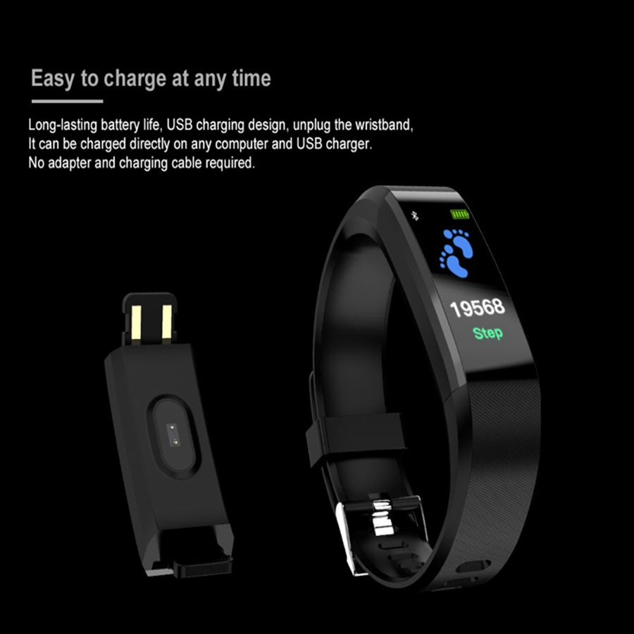 Image 3 - 115 plus Smart Fitness Bracelet ip68 Waterproof Fitness Sport Tracker Wristbands Blood Pressure Measurement Heart Rate Monitor-in Smart Wristbands from Consumer Electronics