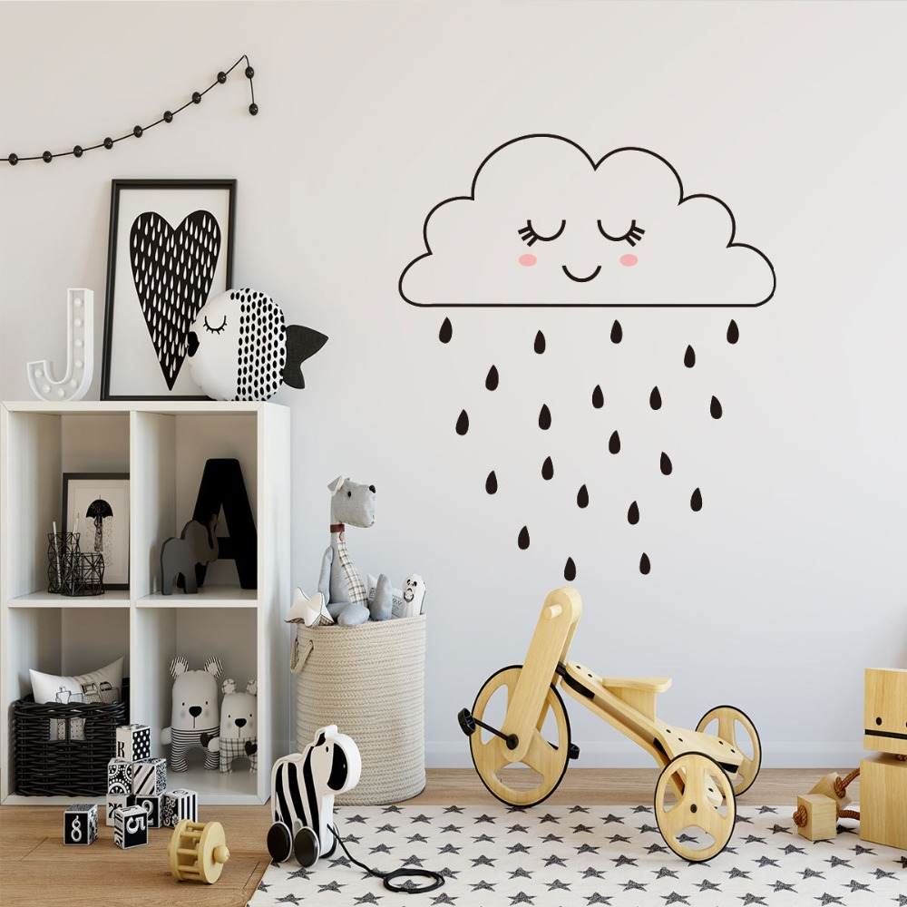 Cloud Raindrop Wall Sticker House Kids Bedroom Room Cartoon Decoration Lovely