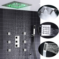 Luxury Rain And Mist Ceiling 20'' Shower Head LED Shower Set Faucets Tap Shower Kit With 6 Body Jet and Thermostatic Mixer Valve