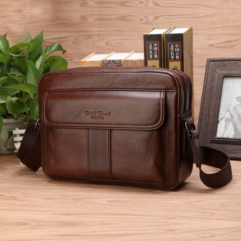 8f1aad179a4e Vintage Genuine Leather Shoulder Bag Men Messenger Bags Business Briefcase  Male Travel Handbags iPad Tablet Bags Crossbody bag