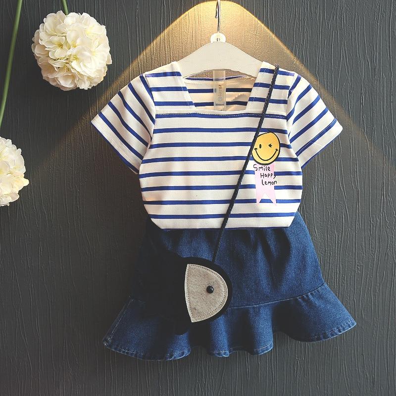 2Pc 2018 Summer Toddler Children Clothing Girls Printed Tops + Denim Skirt Kids Set Dress Set Super Navy Casual Design Cloth Set