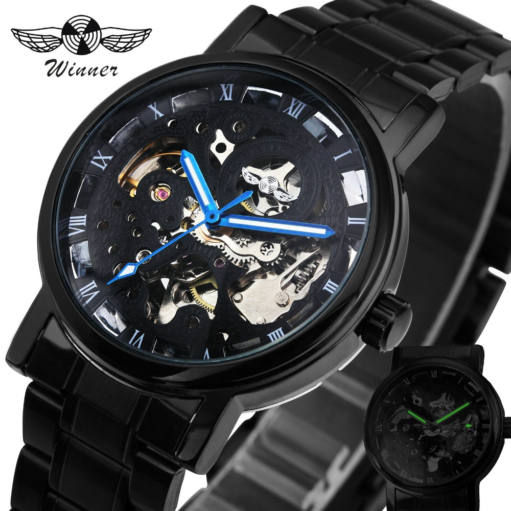 PEMENANG Lelaki Jam Tangan Classic Black automatik Mekanikal Watch Cool Hitam Skeleton Unisex Watch HOT TOP MUDA LUXURY dengan GIFT BOX