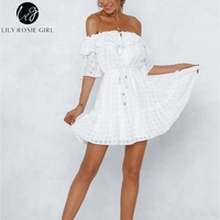 Lily Rosie Girl Mini Sweet Solid Beach Dress Lace Up Women Casual Boho Dress Off Shoulder Ruffles White Summer Dress Vestidos