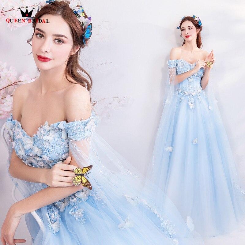 A-ligne cap fleurs perlées Tulle bleu clair élégant robes de soirée formelle bal robe de soirée 2018 nouvelle mode MT11