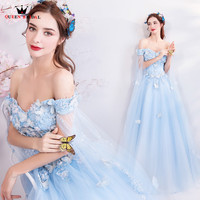 A line Cape Flowers Beaded Tulle Light Blue Elegant Evening Dresses Formal Prom Party Dress Evening Gown 2018 New Fashion MT11