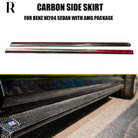 C63 Carbon Fiber Side Extension Skirt For Benz W204 4 Door Sedan C180 C200 C260 with AMG Package & C63 Amg 12 14