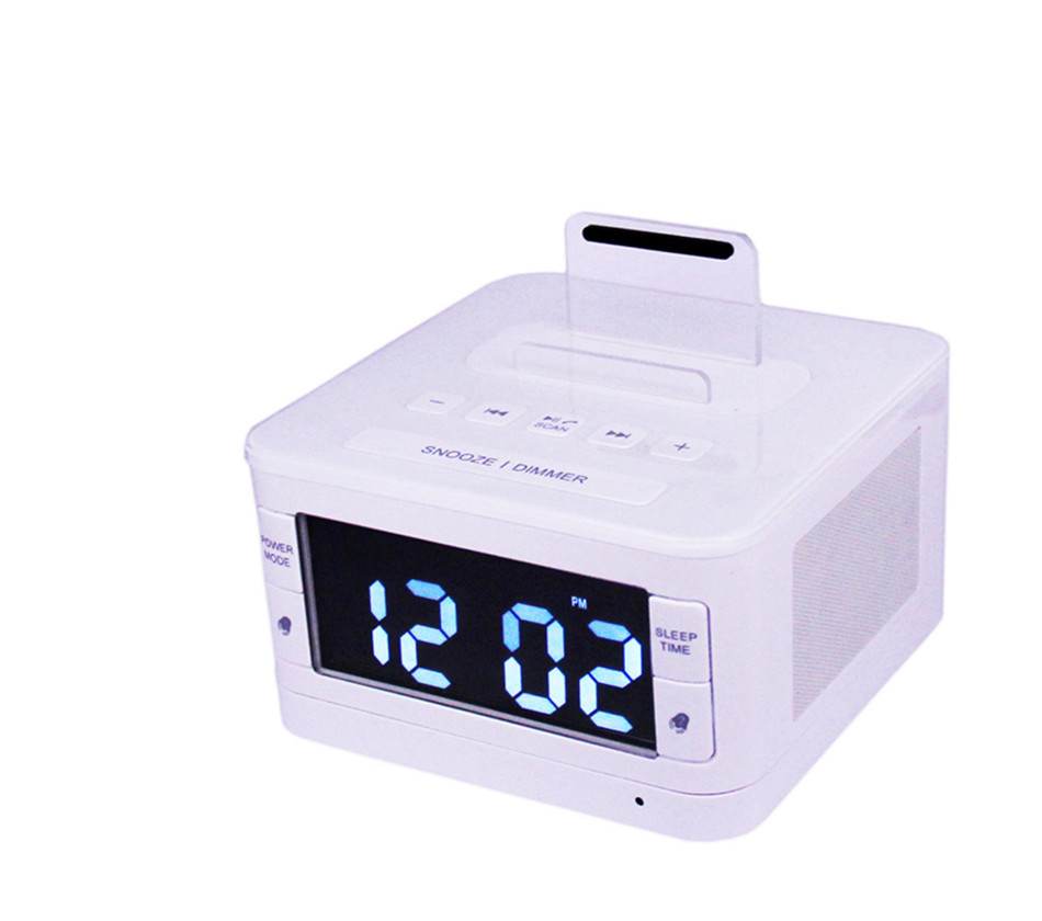 Sans fil Bluetooth Haut-Parleur USB de charge port FM Radio Réveil chargeur Haut-Parleur télécommande pour iphone6 7 8 X Pour Samsung