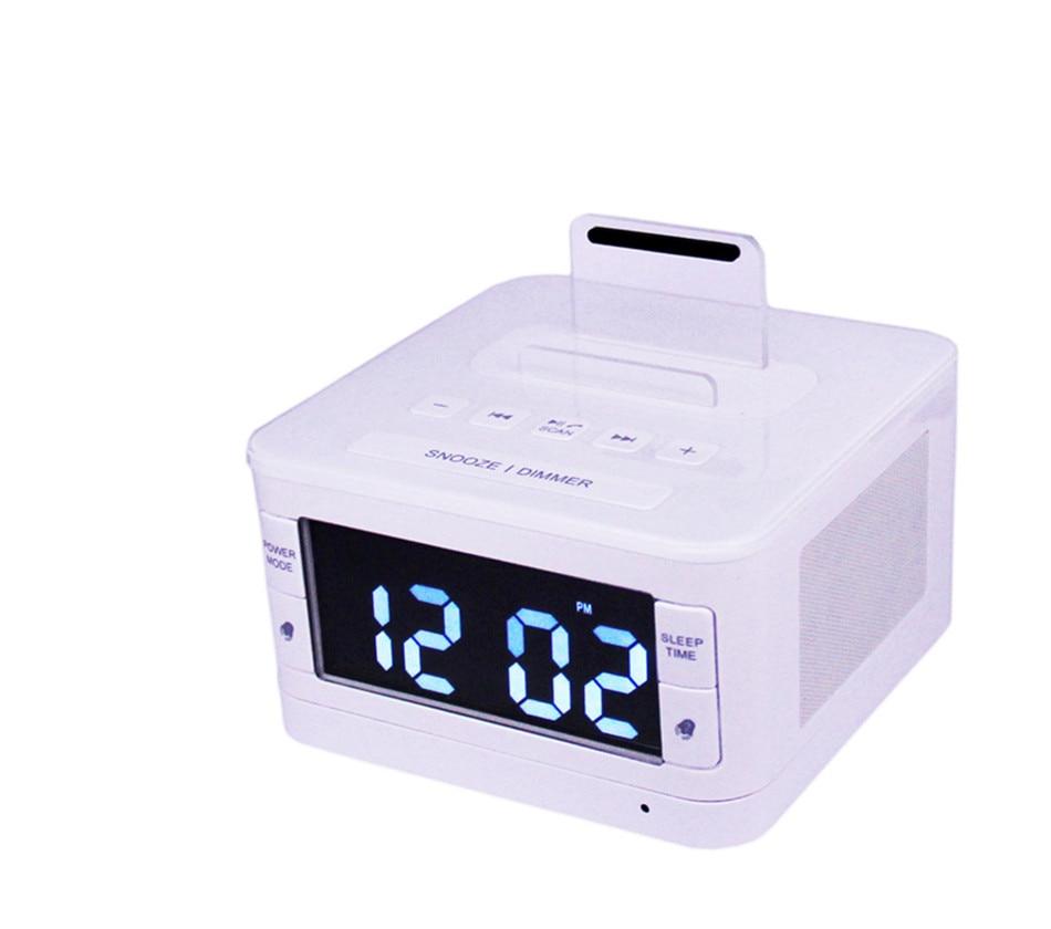 Wireless Bluetooth Speaker USB charging port FM Radio Alarm Clock Charger Speaker remote control for iphone 6 6s Samsung S6 S7 2in1 wireless bluetooth speaker