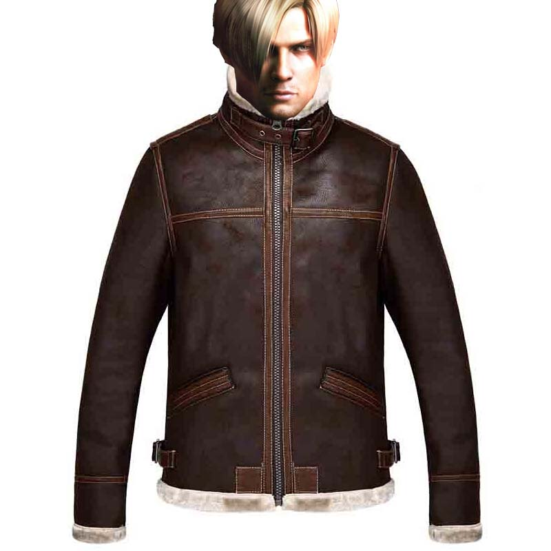 Biohazard Leon Scott Kennedy Fur Line Suede Coat Vintage Leather Jacket Resident Evil 4 Video Game Cosplay Costume Plus Size 5XL