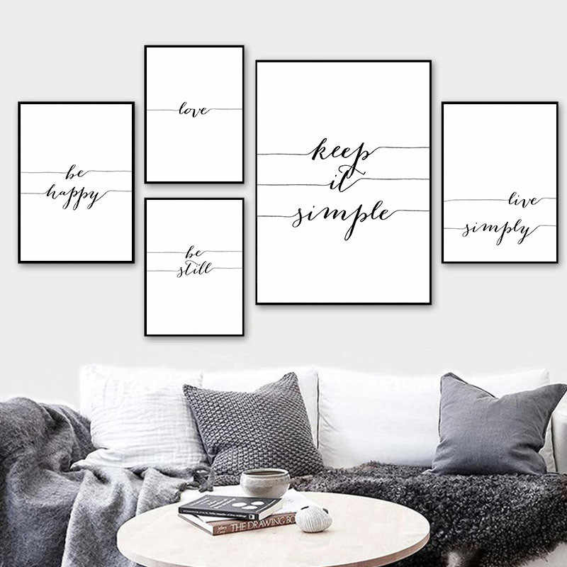 Nordic Minimalist Black White Art Canvas Painting Poster Quote Wall Print Pictures For Living Room Modern Home Decoration AL127