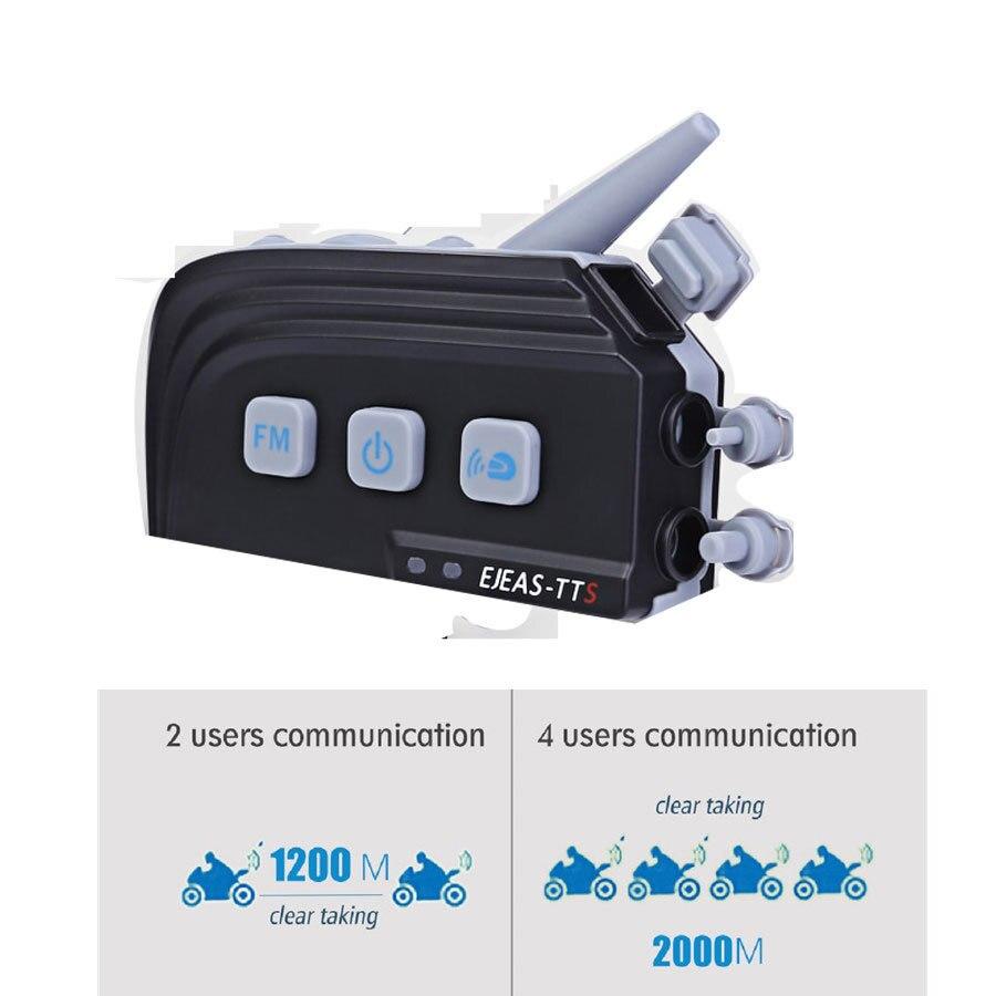 TTS EJEAS Bicicleta Capacete Da Motocicleta Do Bluetooth Interfone Headset Sistema de Comunicação 4 Riders Moto Interphone Com FM