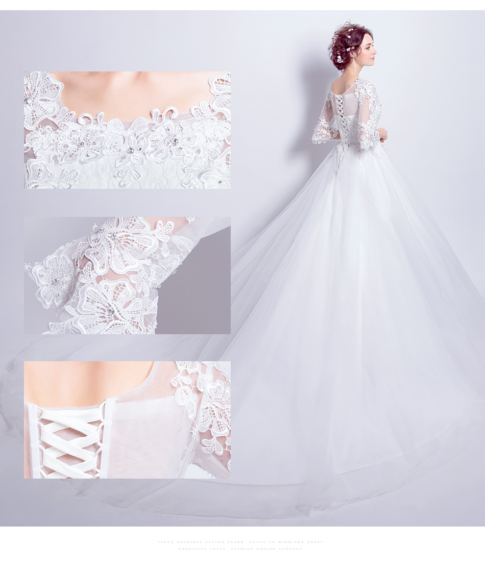 Angel Wedding Dress Marriage Bride Bridal Gown Vestido De Noiva 2017 Boat Neck horn sleeve, big tail 6910 6