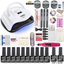 все цены на Nail Set 10pcs Nail Gel Polish Kit 80W/48W/36W UV LED Lamp Dryer Electric Nail drill Nails Art Manicure Tools Set онлайн