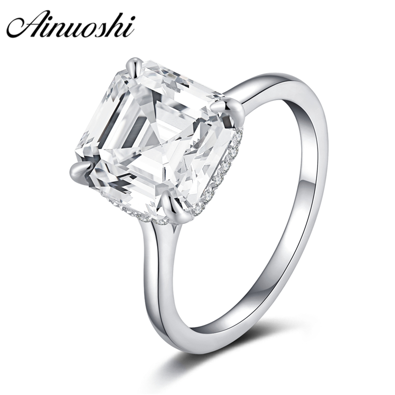 AINOUSHI 925 Sterling Silver Rings for Women Asscher Cut Wedding Engagement Rings Anniversary Gift anillos plata