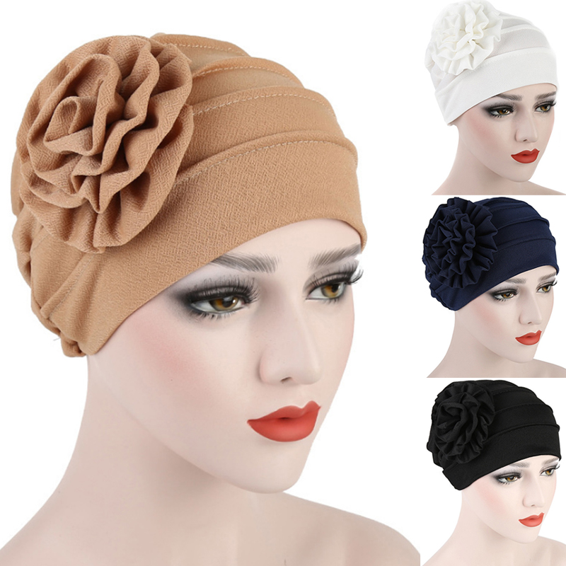 Fashion 1PC High Quality Women Flower Baggy Side Decals Turban Head Solid Color Hat   Skullies     Beanies   Cap