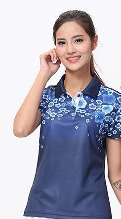 Футболка для настольного тенниса/бадминтона, футболка для бадминтона, ТЕННИСНАЯ СПОРТИВНАЯ ОДЕЖДА Джерси, быстросохнущие дышащие футболки для команды пинг-понга - Цвет: women deepblue shirt