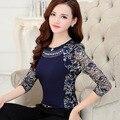 М-XXXL дамы Плюс размер кружева блузка рубашка 2016 Осень Женщины с длинным рукавом Кружева Топы Тонкий Лоскутная Женская одежда