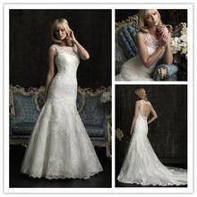 Elegant High Neck Lace Mermaid Wedding Dresses 2014 Keyhole Back Bridal Gowns Custom Made zy1151